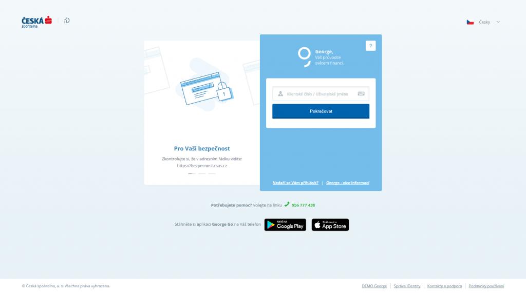 Náhled vstupní stránky internetového bankovnictví George