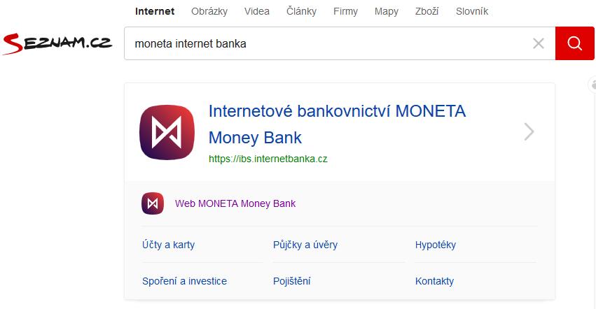seznam vyhledávání výrazu moneta internet banka