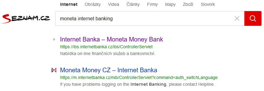 seznam vyhledávání výrazu moneta internet banking